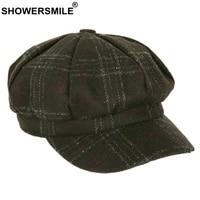 showersmile black woolen panel cap for women vintage newsboy cap female spring autumn female plaid tweed gabby baker boy cap