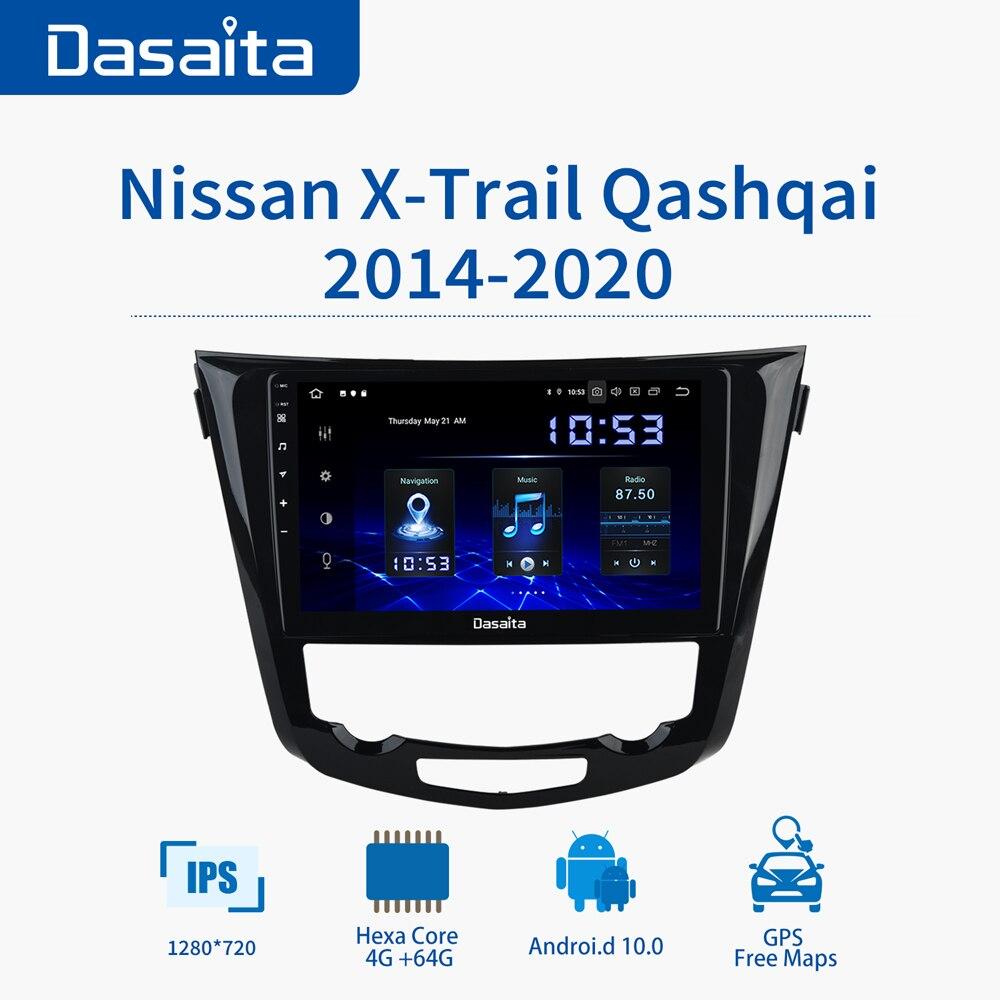 Radio para coche Dasaita Android 10 para Nissan x-trail Qashqai 2014-2020 PX6 Bluetooth 5,0 4G Ram 64G Rom 10,2 pulgadas pantalla táctil ancha