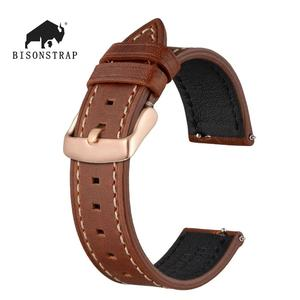 BISONSTRAP Watch Strap 18mm~22mm Genuine Leather Strap for Men Women Quick Release Replacement Belt Watchband Rose Gold Buckle