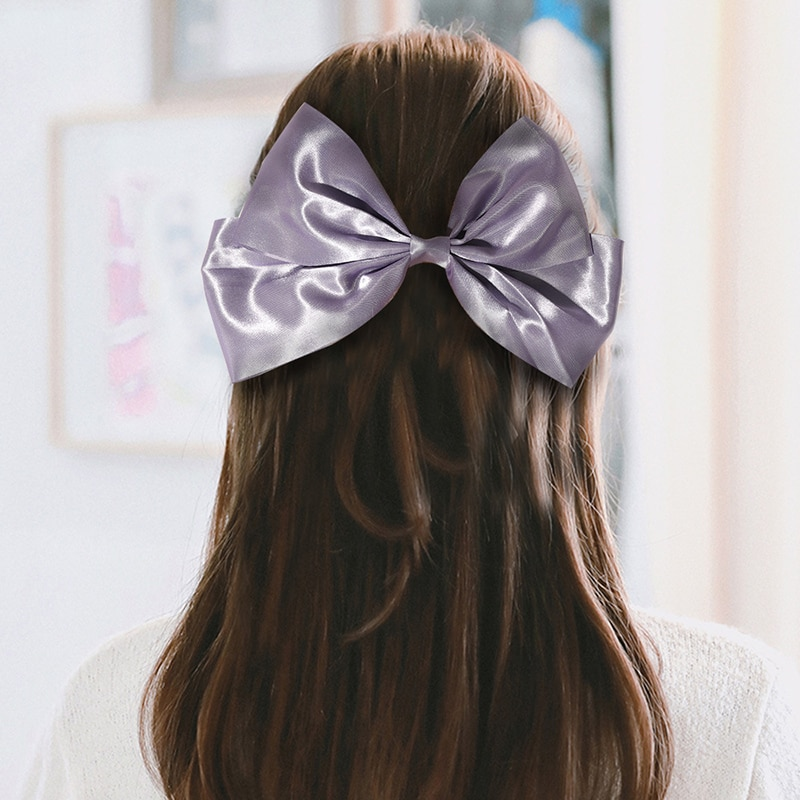 Korean Big Hair Bow Ties Clips Satin Butterfly For Women knot Hairpins Trendy Headwear Accessories