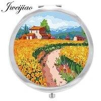 youhaken paintings landscape makeup mirror beautiful flower image floding round compact hand pocket mirror magnif espejo