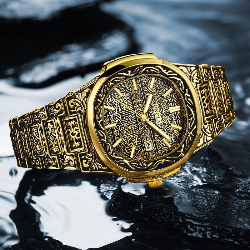 Модные кварцевые часы, мужские брендовые роскошные золотистые часы из нержавеющей стали в стиле ретро, мужские золотистые часы