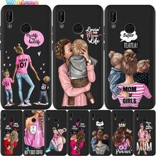 Moda Mam Mãe Super Baby Girl Preto Caixa Do Telefone Para Huawei honor 8 9 10 honor 9X20 Lite Pro P Smart soft case Capa Estojo