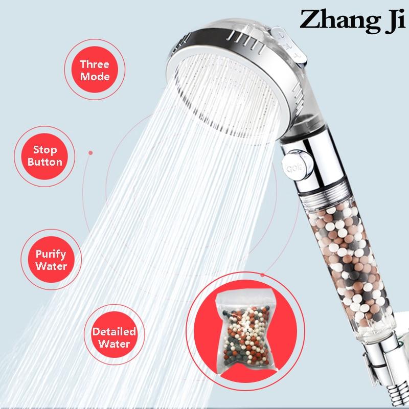ZhangJi 3 Modes Adjustable High Pressure Shower Head Tourmaline Replaceable Filter SPA Shower Water Saving  Switch Button Shower
