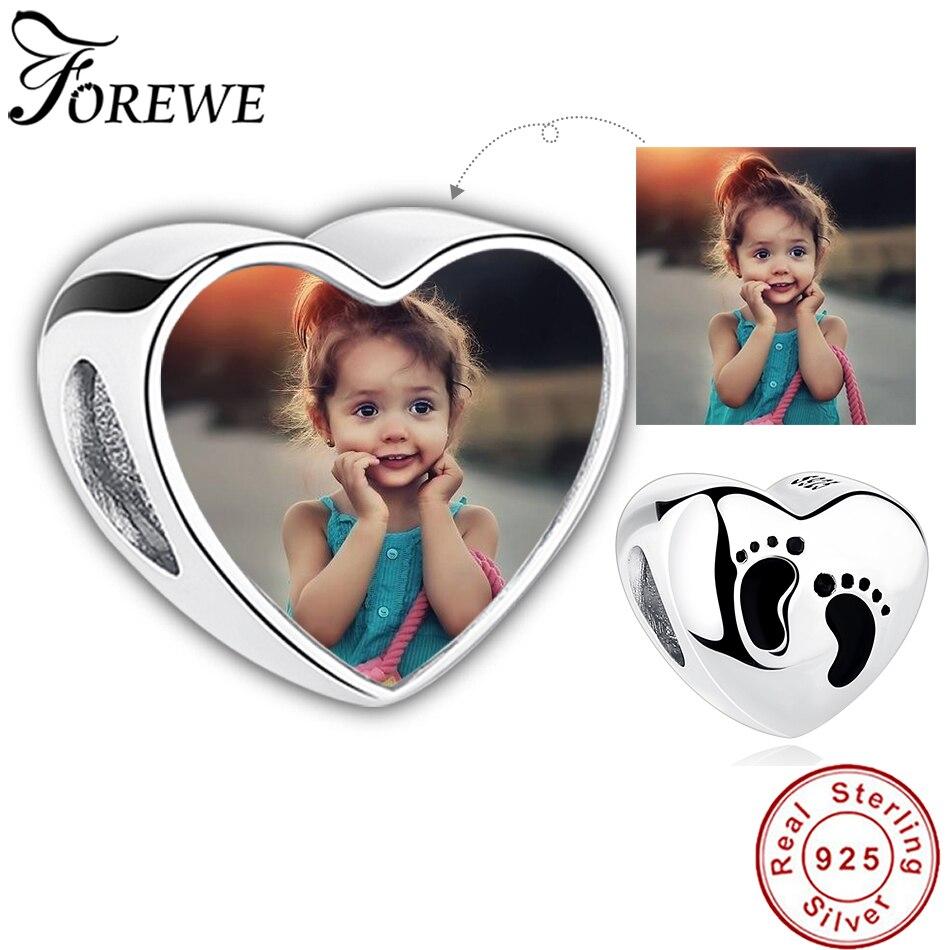 Детский персональный фотобраслет с изображением сердца серебряные бусины 925 пробы оригинальный браслет Pandora DIY ювелирные изделия