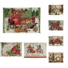 Carro rojo árbol de Navidad Cocina mantel posavasos mesa de comedor tapetes algodón Lino almohadilla tazón tapete 42*32cm hogar DecorCD05