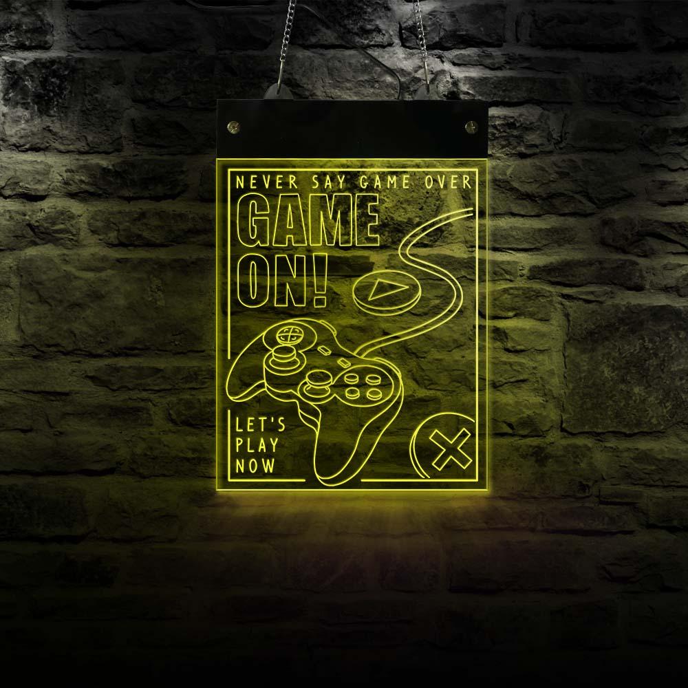 لوحة عرض غرفة الألعاب LED مع ضوء نيون ، لوحة أكريليك ، وحدة تحكم ألعاب الفيديو ، ضوء حائط قابل للتبديل متعدد الألوان