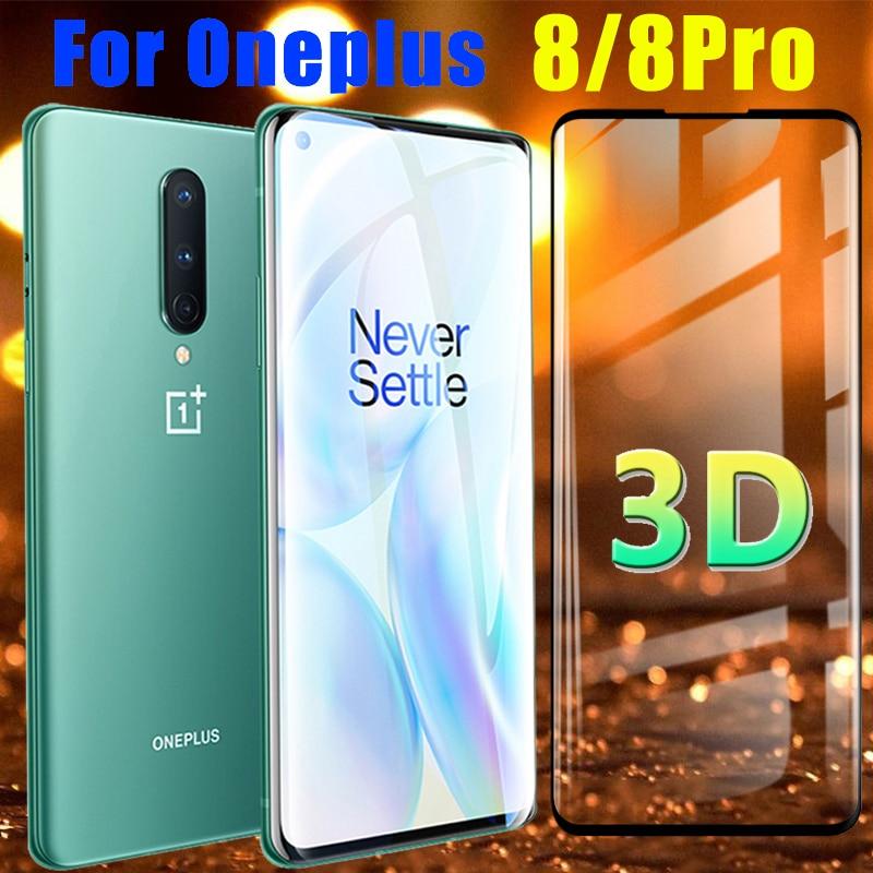 Protector de pantalla para Oneplus 8 Pro, cristal protector One Plus 8Pro, película Oneplus8 9H 1 Plus, Oneplus8pro, armadura de cristal templado 3D