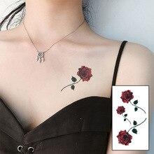 Autocollant de tatouage temporaire imperméable à leau fleur de Rose rouge autocollant de tatouage temporaire Art Tatoo Tatto hommes femmes Flash faux henné