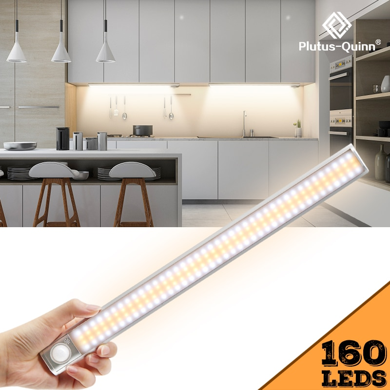 80/120/160 LEDs PIR Motion Sensor LED Under Cabinet Light Dimming Adjust Sensing Time Night Lamp For Kitchen Wardrobe Stairs