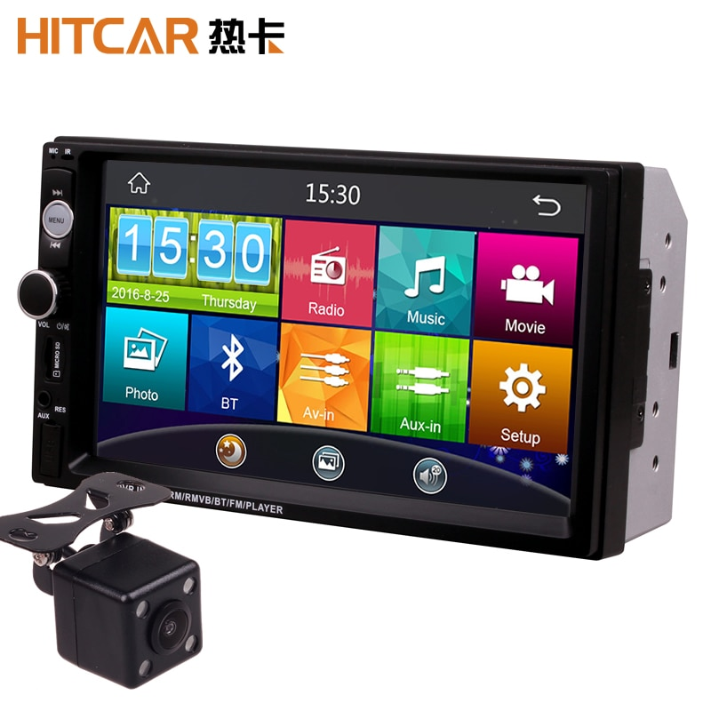 7 Inch Touch Screen 2Din Universal 12V 24V Car Truck Bus Van In Dash Bluetooth Radio MP3 MP4 MP5 Med