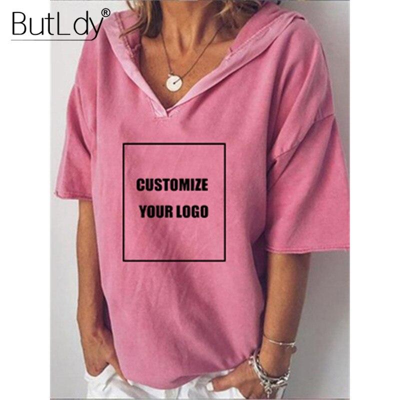 Camiseta personalizada con su diseño de logotipo, suéter con capucha con cuello en V informal para mujer, camisetas de verano 2019, Camiseta holgada de talla grande 5XL