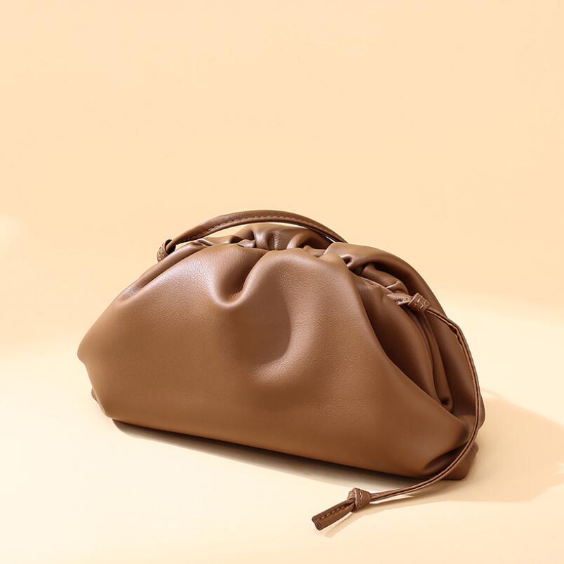 2021 New Fashion Cloud Dumplings Clutch Bag Women Genuine Soft Leather Handbags High Quality Elegant Ladies Small Shoulder Bag