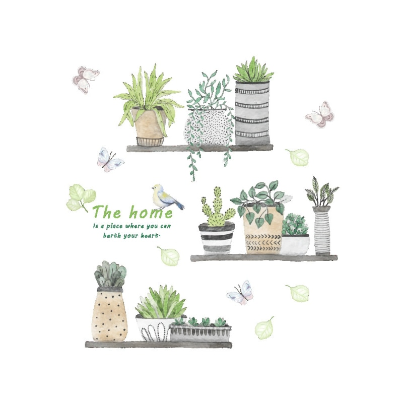 Garden Potted Plants Cactus Aloe Wall Stickers Living Room Flowers Butterfly Bonsai Wall Decals DIY Mural Poster Home Decoration
