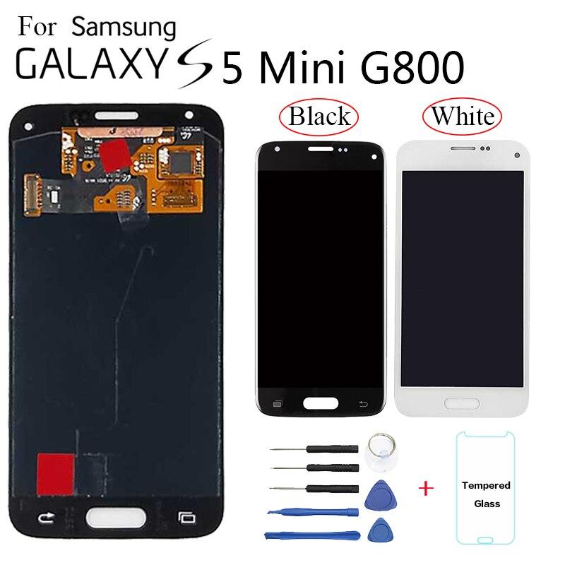 Super AMOLED para Samsung Galaxy S5 Mini G800 G800F G800H LCD pantalla táctil digitalizador montaje con herramientas