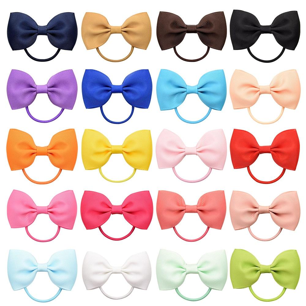1 pçs moda pequeno bebê elástico banda de borracha cabeça corda mini sólida ribbow laço para meninas acessórios de cabelo