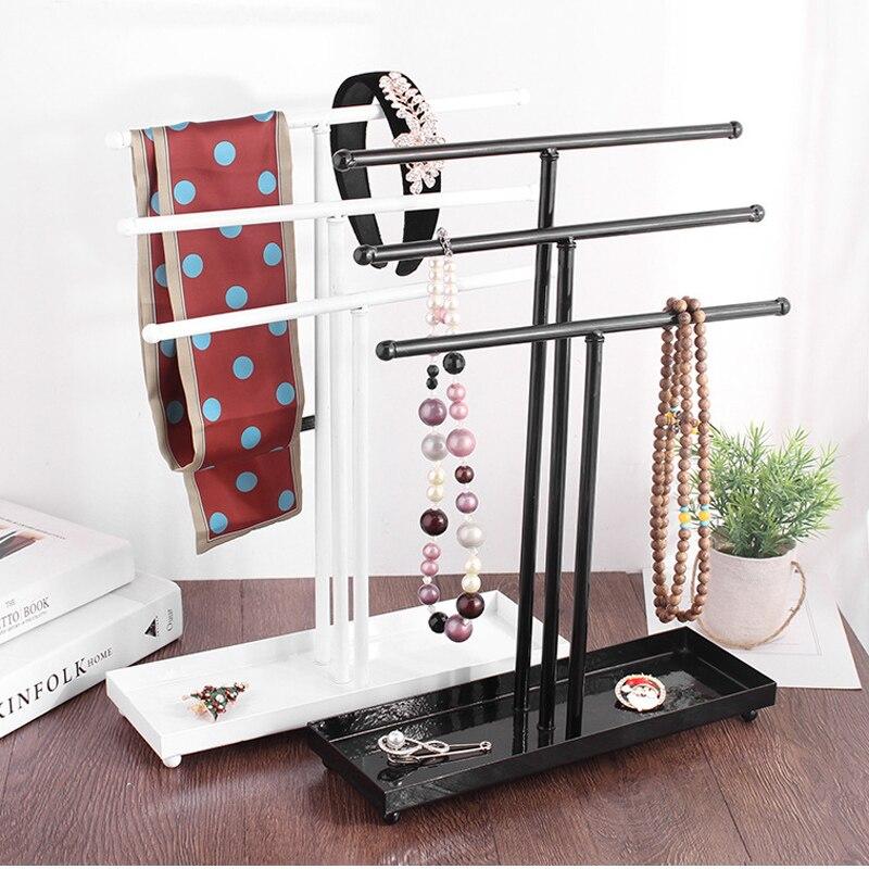 Nueva llegada tres capas de acero exhibición de joyería collar pulsera colgante anillos pendientes Almacenamiento de banda de pelo