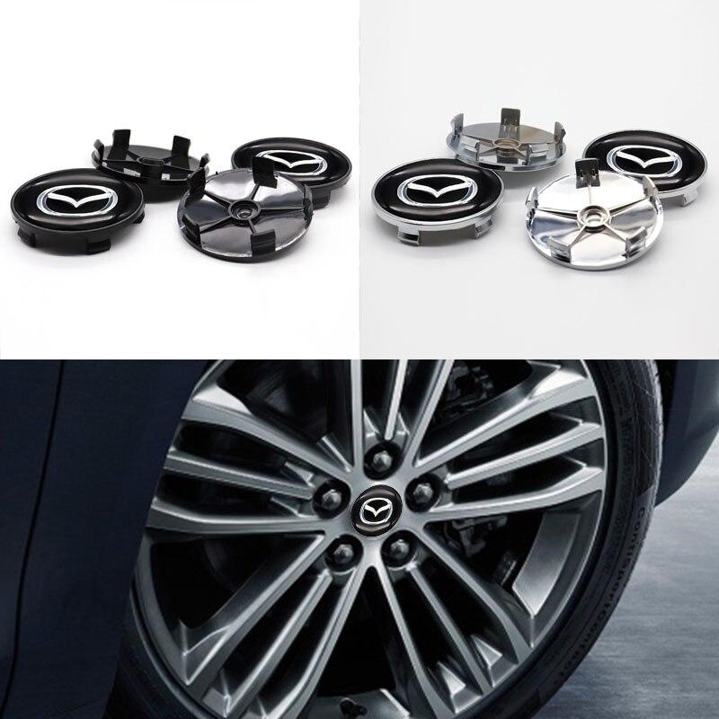 Автомобильные детали, 4 шт., 60 мм, крышка ступицы колеса, наклейка на Центральное колесо, логотип автомобиля, подходит для Mazda-Персонализирова...