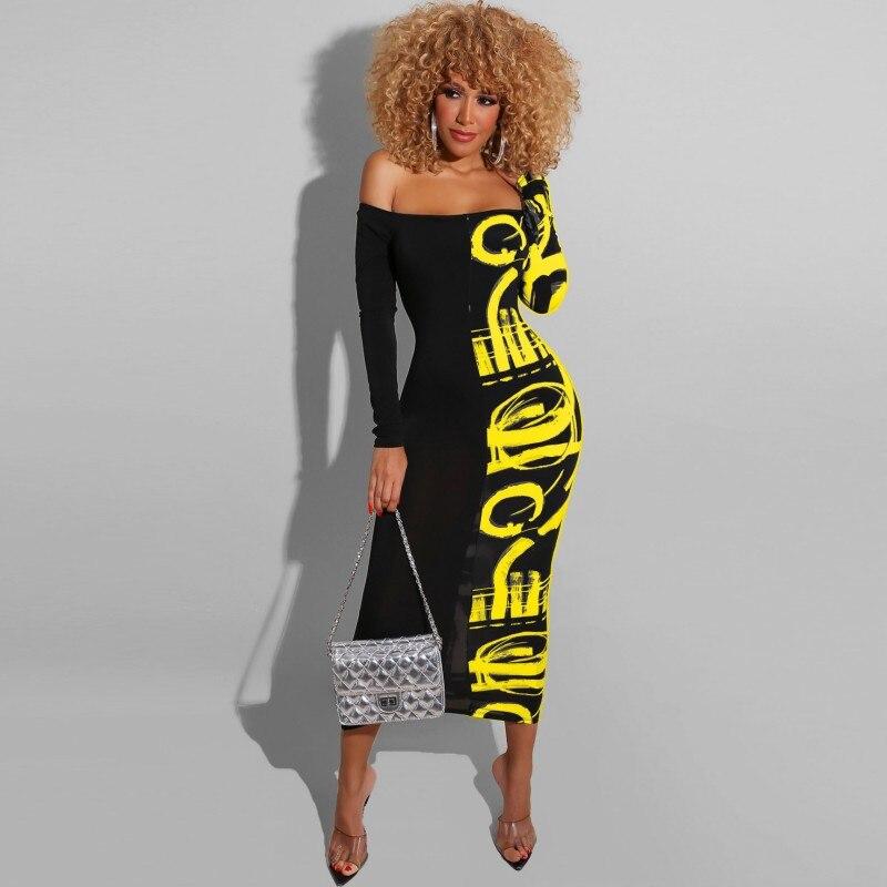Vestido largo Maxi con estampado de letras 2020 para mujer, Sexy, sin hombros, cuello de barco, ajustado, manga larga, vestidos de fiesta, Club