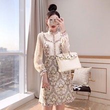2021 New Designer Women Fashion Ruffles Patchwork Mesh Long Sleeve Mini Dress Summer Womans Print La