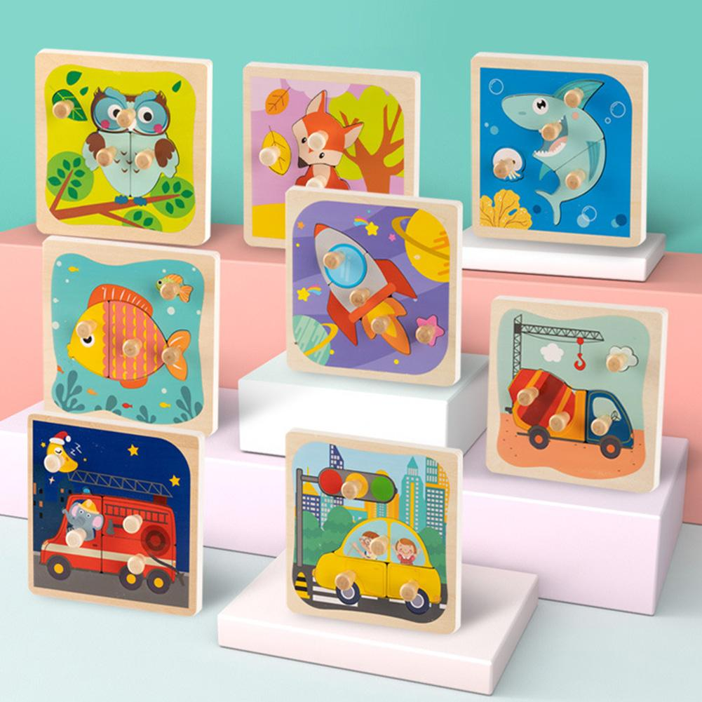 Early Childhood Education Wooden Pegs Hand Grab Board Cognitive Puzzle Kids Toys