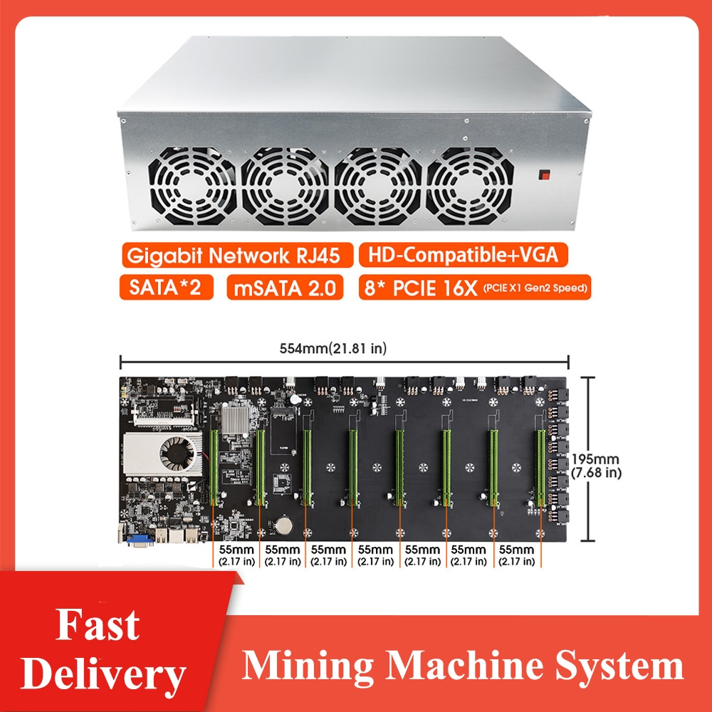 BTC-D37 Miner Case Set Chassis w/ 4 Fans Motherboard 8 Slots DDR3 SSD Mining Machine System for Mining ETH/BTC with video card