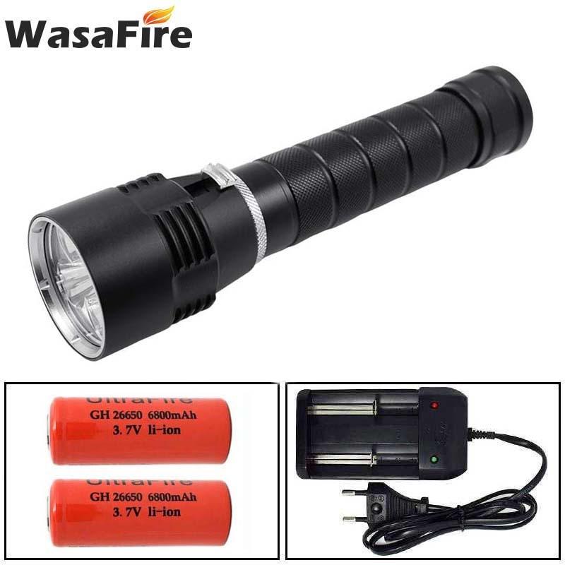 Linterna de buceo POTENTE PROFESIONAL 10000 LM L2 linterna de buceo resistente al agua Diver luz 18650/26650 LED linterna SUMERGIBLE
