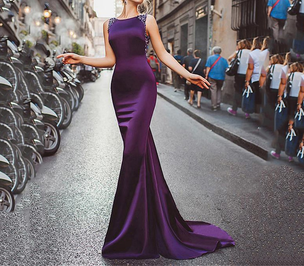 O-Neck Perspective Back Sleeveless Floor Length Court train Crystal Beading Satin Evening Dresses Purple Prom Dresses