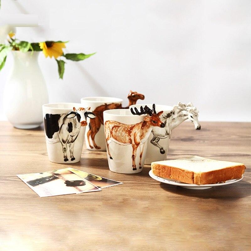 3D Creative 400ml Mug Animal Shape Hand Drawn Deer Giraffe Cattle Monkey Dog Waiting Horse Cup Gift Ceramic Coffee Milk Mug