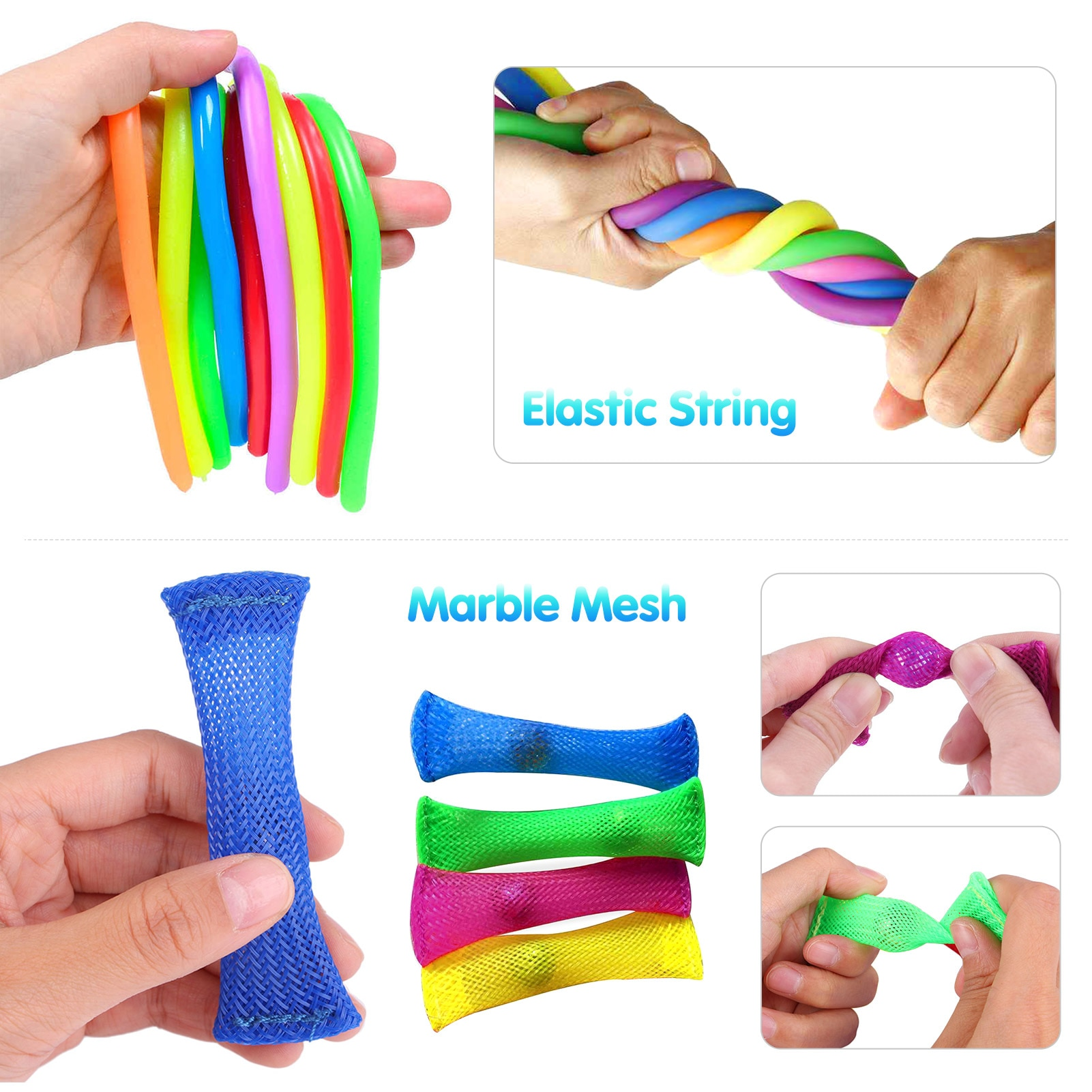 23Pcs Fidget Toys Set Stretchy Strings Key Chain Anti-stress Relief Gift Adults Kids Sensory Stress Relief Pop it Fidget Toys enlarge