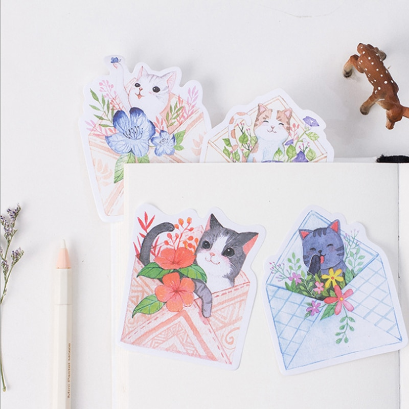 30pcs/pack Kawaii Cat Sticky Notes Sticky Notes Stationery Memo Pad Notepad Office Decoration Office Supplies creative black white cat and little carton shape sticky notes