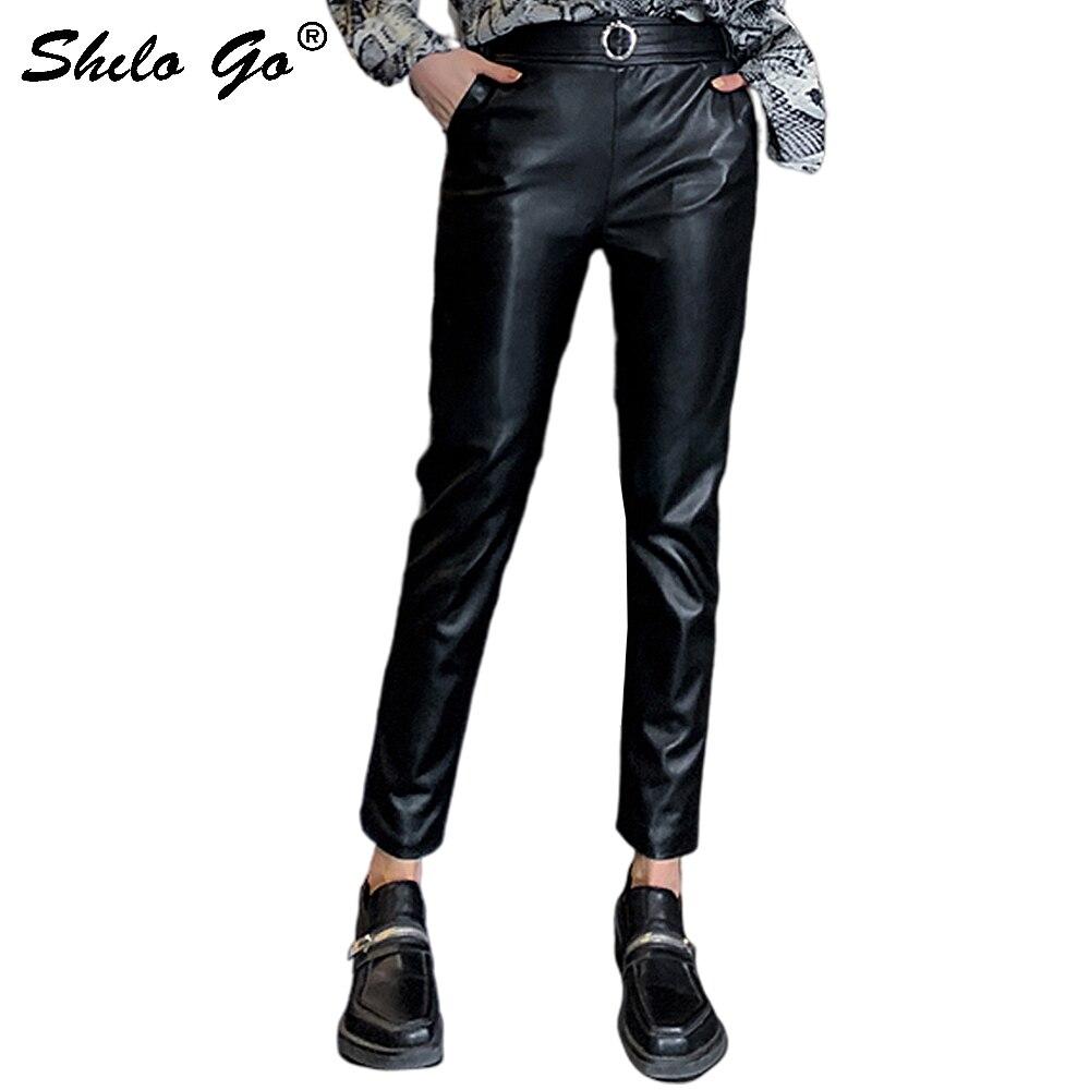 Pantalones de cuero minimalista o-ring detalle de alta cintura de piel de oveja lápiz pantalones mujeres primavera Casual Oficina señora Fit Pantalones Mujer