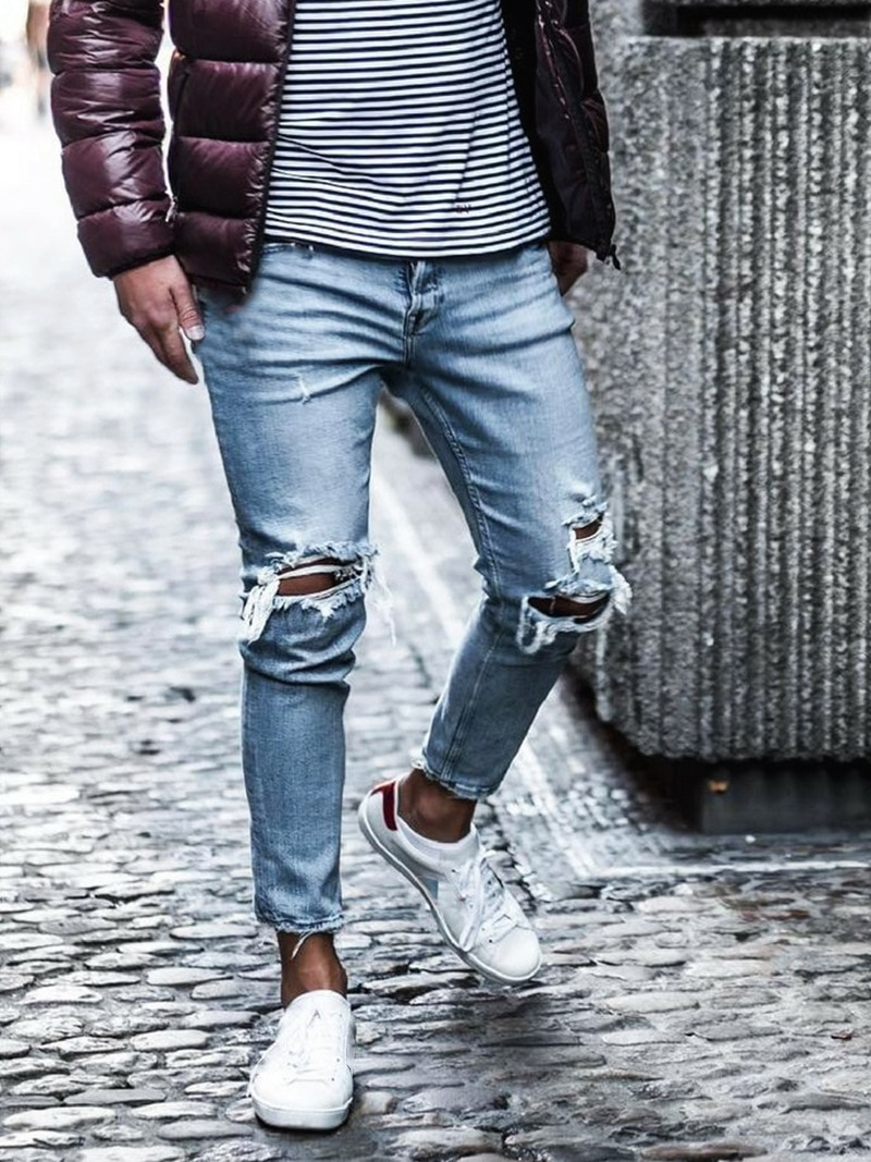 Men Ripped Jeans Fashion Destroyed Frayed Denim Pencil Pants Homme Casual Knee Hole Skinny Distressed Jeans Streetwear distressed ripped slim fit jeans mens washed destroyed skinny denim pants fashionable streetwear blue hole biker jean for men