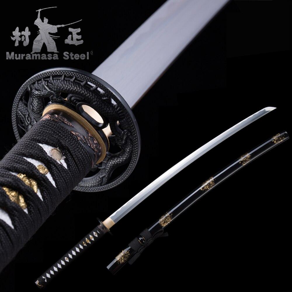 Real Japanese Katana-1045 Carbon Steel Blade Full Tang Razor Sharp-41 Inches Samurai Sword-Handmade New ARRIVAL-Shinning Black