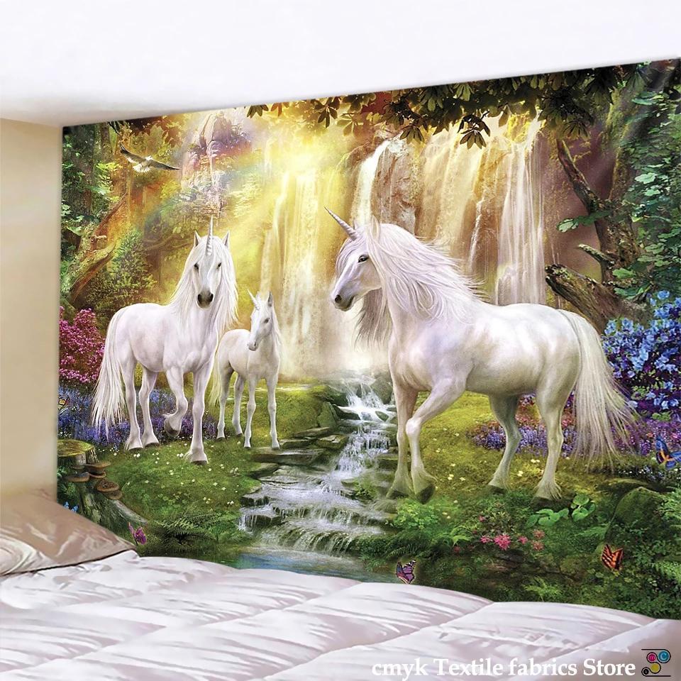 3D Printing Curtain Elephant Tapestry Sacred Unicorn Cartoon Cat Nature Palm Tree Wall Hanging Hippie Living Room Art Home Decor