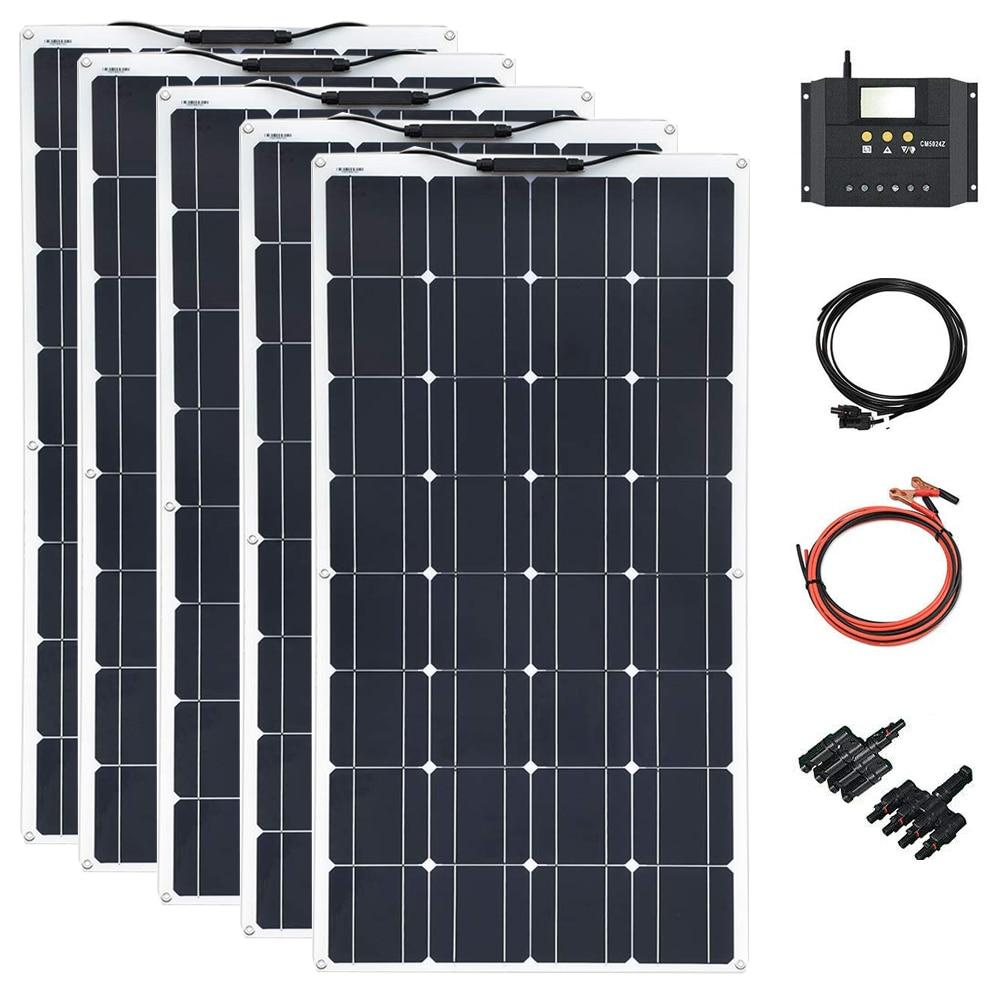 Xinpuguang 500 w, panel Solar semiflexible, sistema doméstico (5PCSX100W), Kits de cargador Solar portátil DIY, PV para barco RV marino
