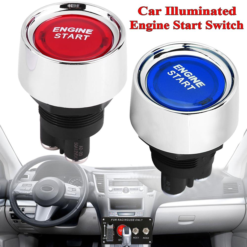 Universal Car Auto Illuminated Push Button Red blue Touch Switch Engine Start Race Starter 12V