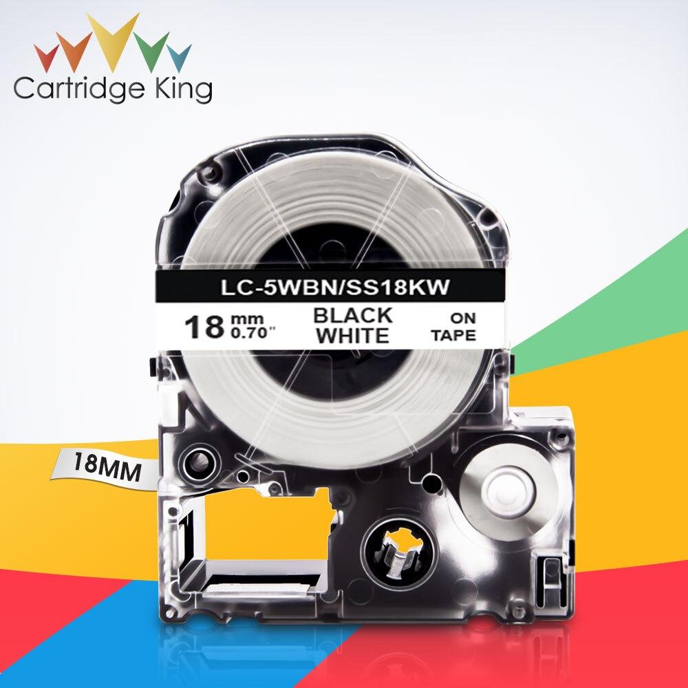 """Negro sobre blanco SS18KW LC-5WBN 3/4 """"(18mm) de la cinta de etiqueta para Epson rey Jim LW-C410 LW-400 LW-400L Tepra Pro SR210 SR220 fabricante de etiquetas"""