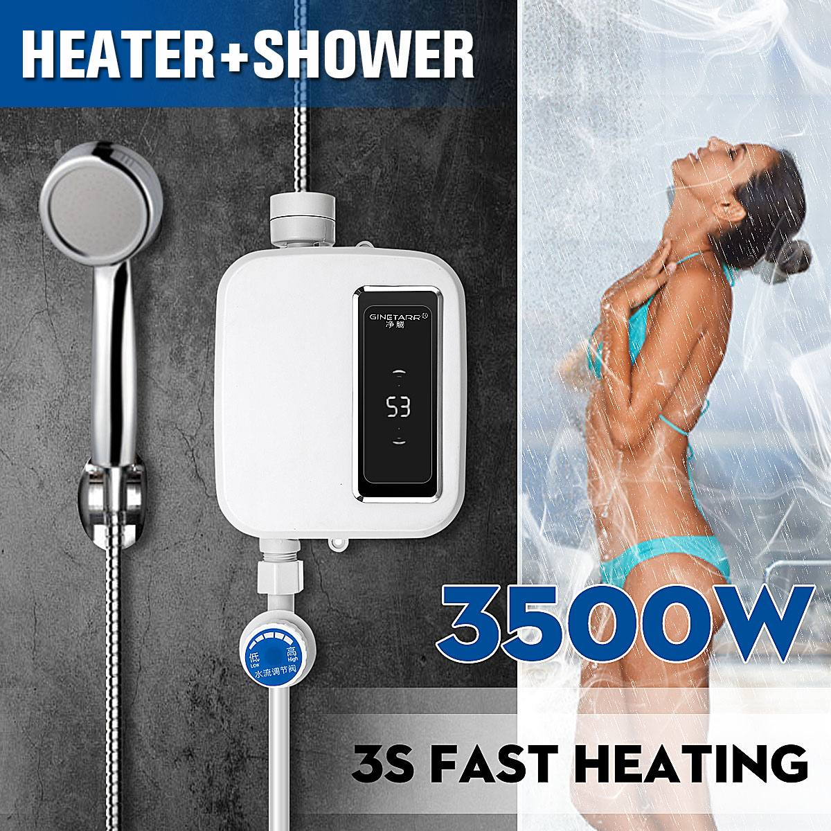 Electric Tankless 3500W Mini Instant Hot Water Heater Kitchen Faucet Tap Heating Stainless Steel Constant Temperature Automatic