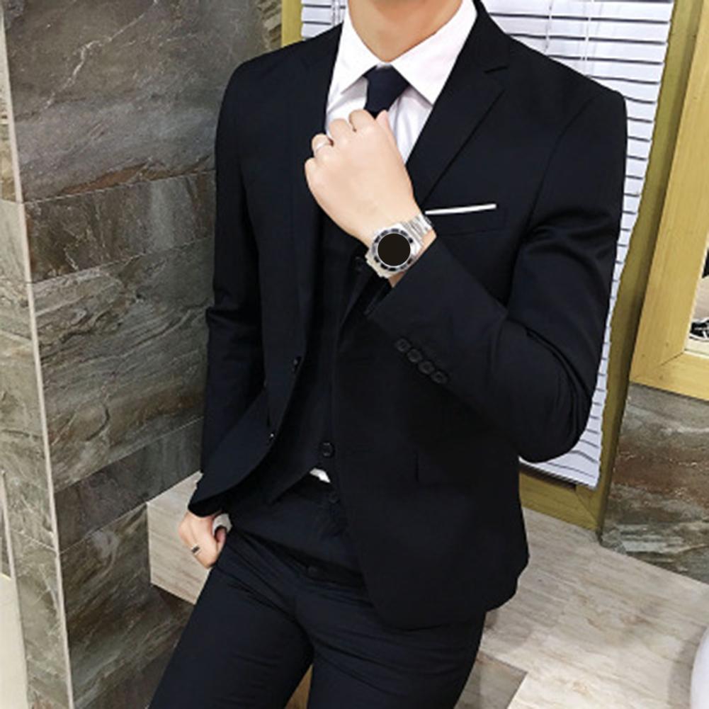 Fashion Men Solid Color Suit Jacket Fashion Casual Suit Business Blazer Long Sleeve Lapel Slim-Fit Blazer Suit Coat Outwear men