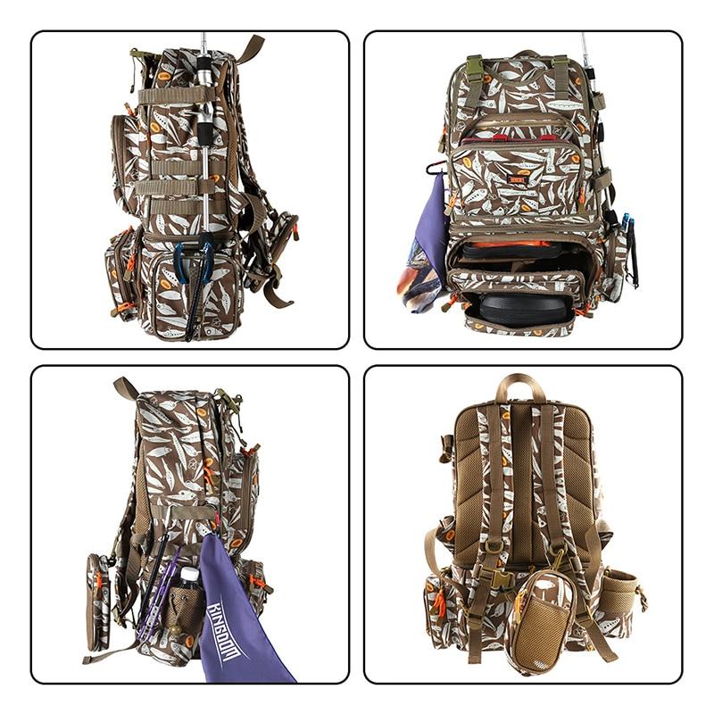 Kingdom Fishing Bags 1000D Waterproof Nylon Multifunctional Outdoor Large Capacity 43x24x53cm Men's Backpack Fishing Accessories enlarge