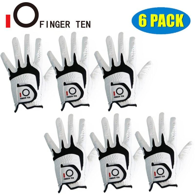 6 шт левой и правой руки перчатки для гольфа Для мужчин кожа Кабретта любую погоду