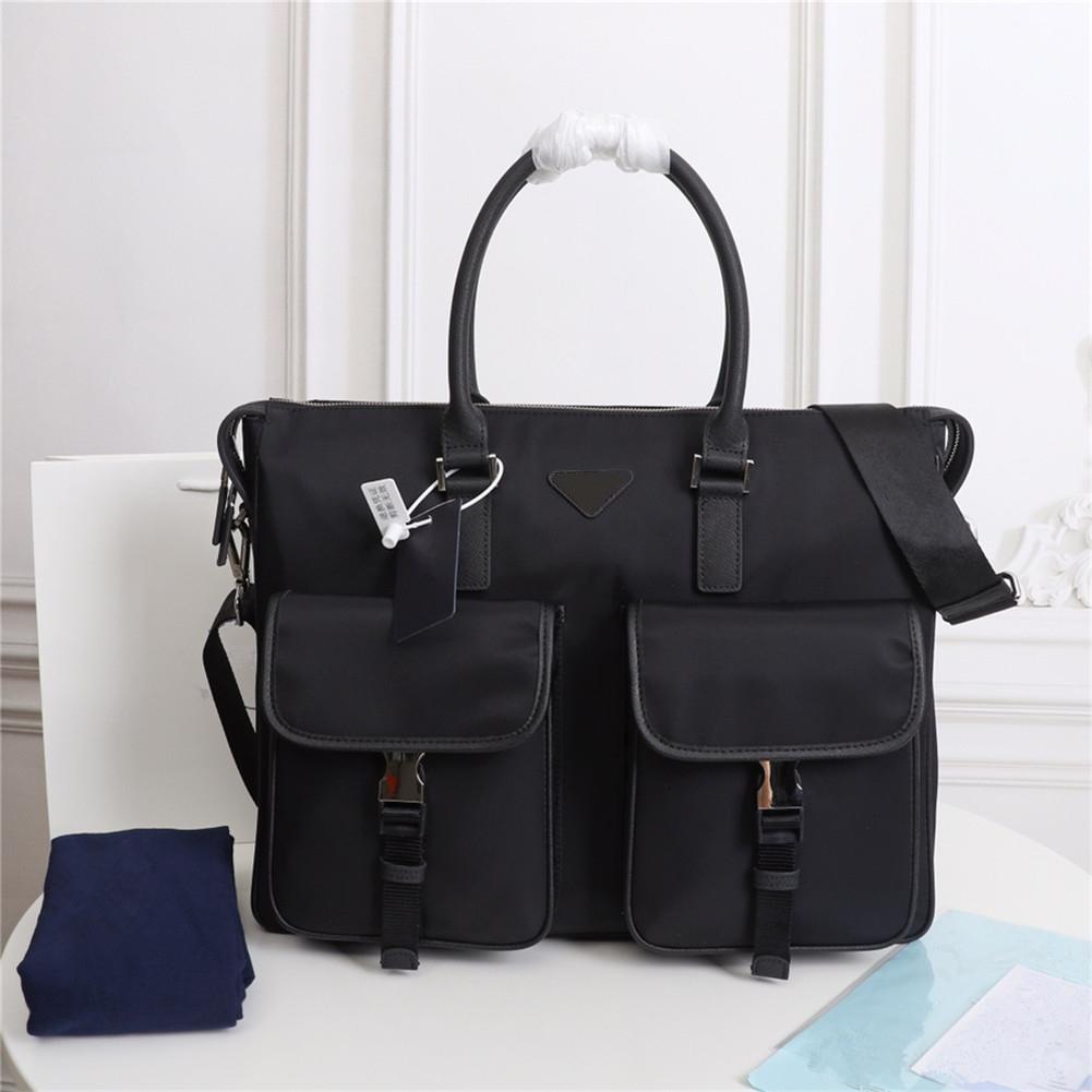 Men's black nylon designer waterproof briefcase high quality laptop bag large capacity casual simple office handbag