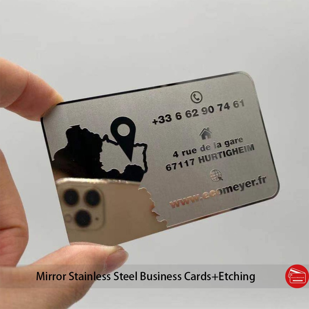 Mirror finish metal business cards Color/Logo/size customized mirror stainless steel business cards