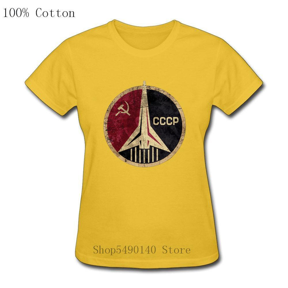 Camiseta Retro CCCP Rusia Unión Soviética, URSS Era estación espacial mujer verano nueva camiseta Casual Interkosmos chica camiseta espacio Shuttle