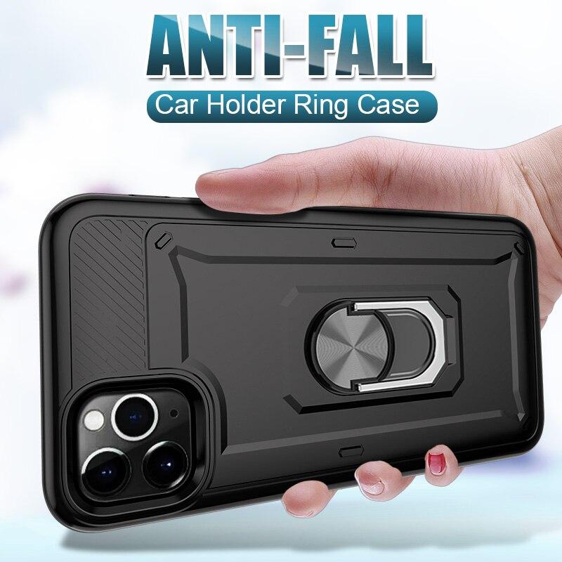 Luxo armadura suporte caso do telefone para o iphone 11 pro xs max xr x anel magnético à prova de choque capa para o iphone 6s 7 8 plus se 2020