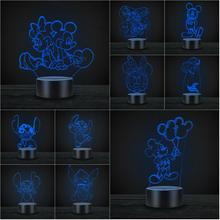 Nouveauté USB LED 3D lampe dessin animé Mickey Minnie point sirène Elsa veilleuse pour enfants Luminaria décoratif cadeau de noël
