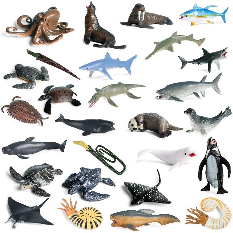simulation pvc figure series of marine animals toys decoration new boxed toy model gift 13pcs set New Simulation Mini Prehistoric Marine Life Model Shark Whale Sea Turtle Nautilus PVC Action Figure Kids Educational Toys Gifts