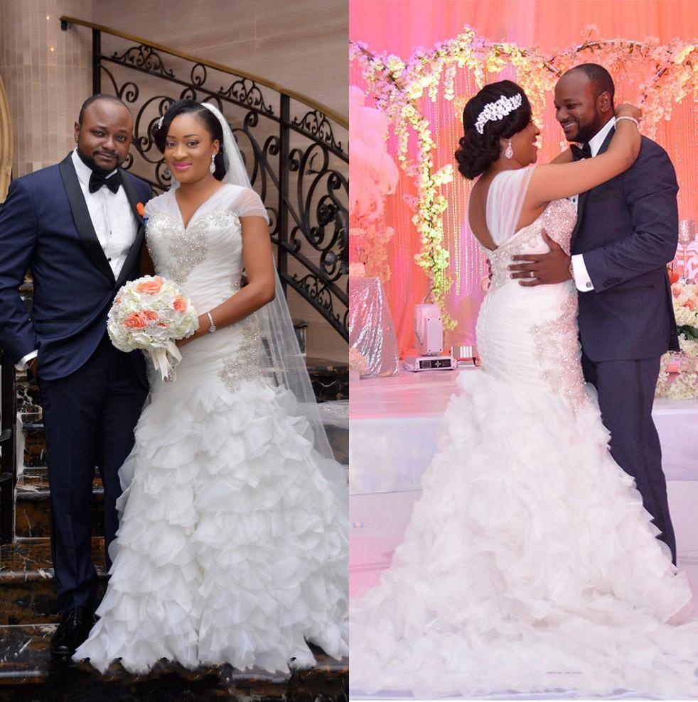 Африканские Длинные свадебные платья с бусинами и юбкой-годе, свадебные платья из тюля на завязках, свадебные платья на заказ