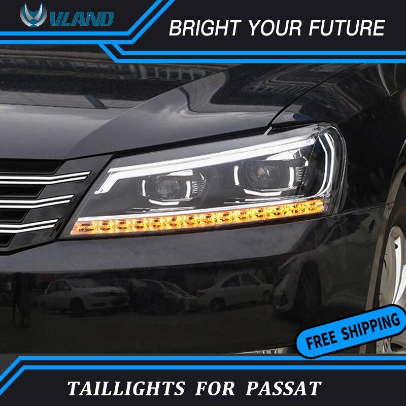 Lámpara frontal de tira de LED para VW Passat B7 conjunto de Faros 2011-2015 lente de proyector bi-xenon KIT HID de doble haz